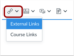 External Links button highlighted in Rich Content Editor toolbar